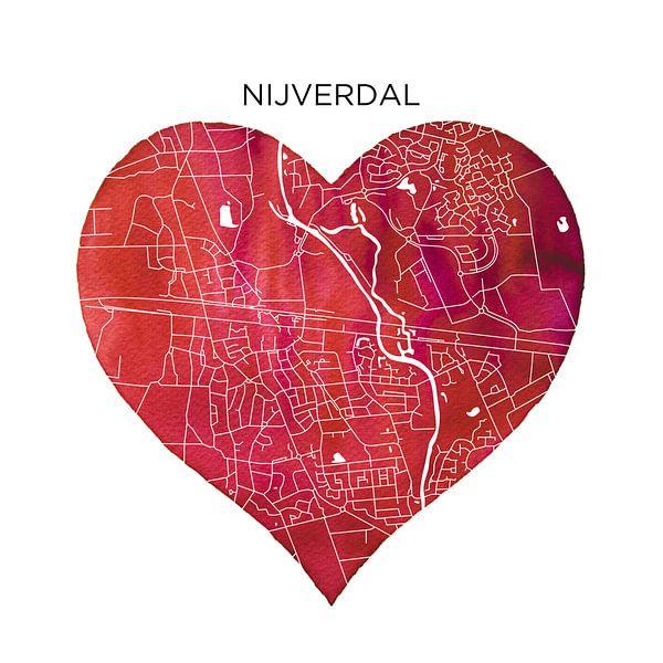 Nijverdal | Stadskaarten als Wandcirkel van Wereldkaarten.Shop