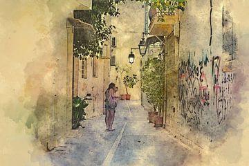 een oude straat op het eiland Kreta van eric van der eijk