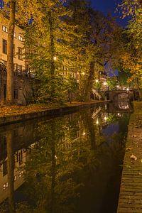 Nieuwegracht in Utrecht in de avond, herfst 2016 - 4