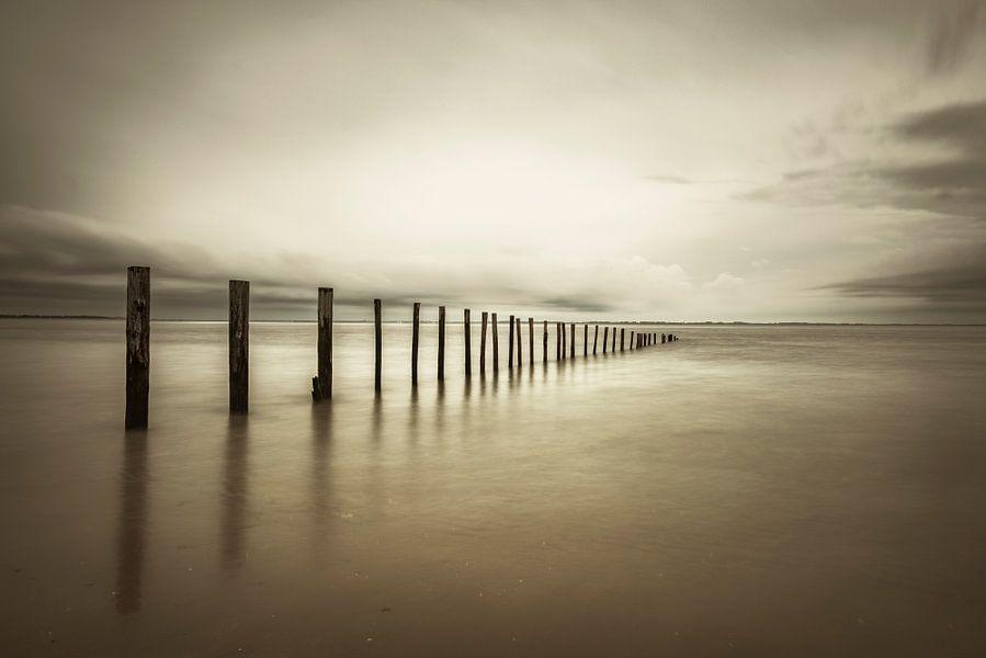 Palen in zee op het strand in sepia