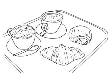 Koffie en croissants van