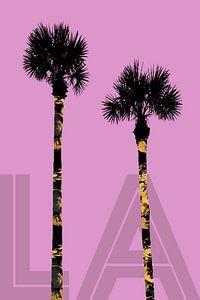 Grafische kunst BOMEN LA | roze van Melanie Viola