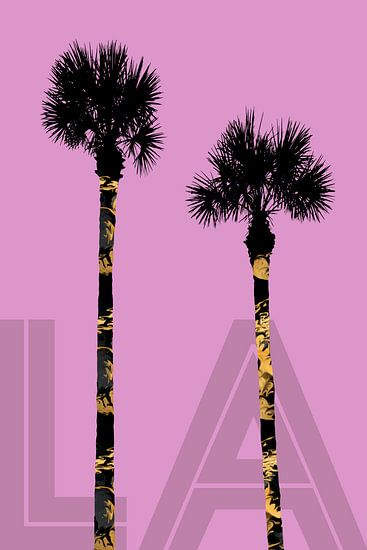 Grafische kunst BOMEN LA   roze van Melanie Viola
