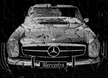 Grunge Zwarte Mercedes van Nicky`s Prints