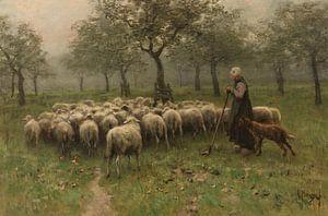 Herderin met kudde schapen, Anton Mauve van Diverse Meesters