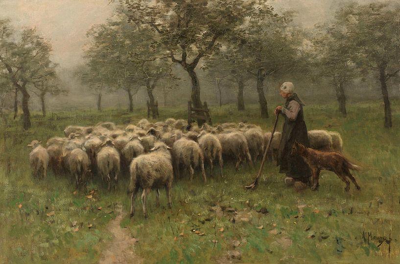 Hirtin mit Schafherde, Anton Mauve von Diverse Meesters