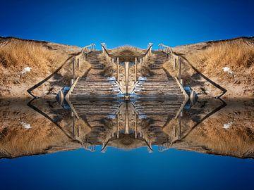 Treppe vom Wasser in den Himmel van Peter Roder