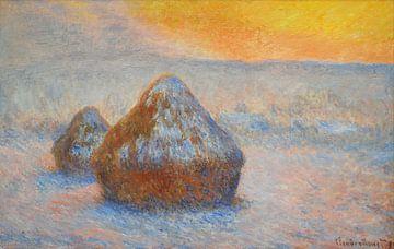 Piles de blé (coucher du soleil, effet neige), Claude Monet sur