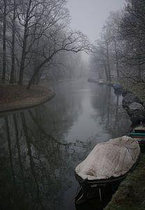Singel van Utrecht in de mist van
