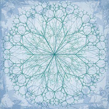Mandala getekend, blauw-groen van Rietje Bulthuis