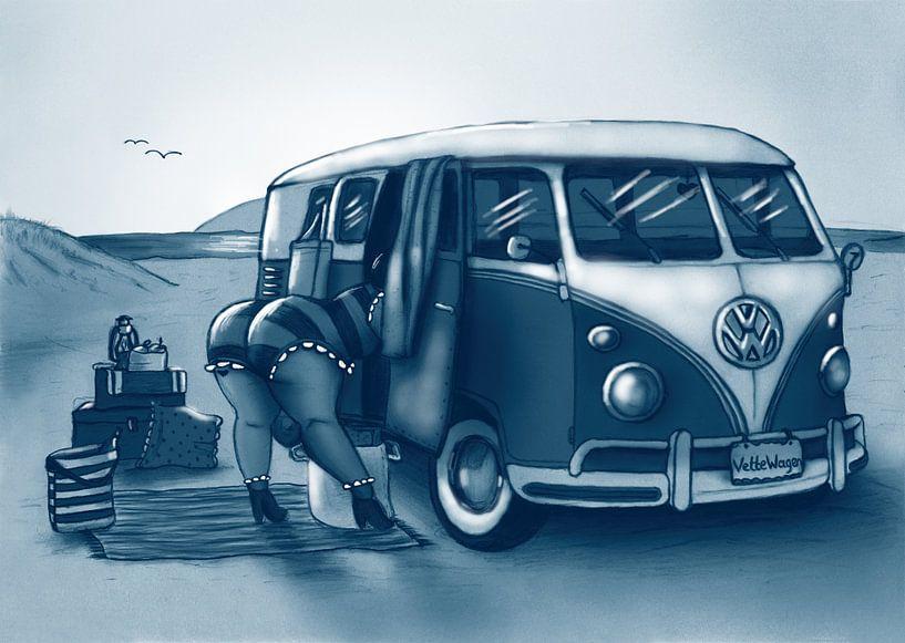 Vet Wuuf's Volks Wagen busje T1 van Bianca van Duijn