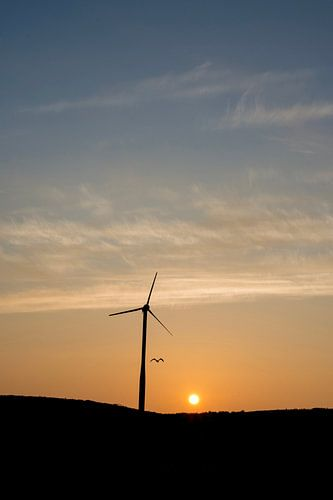 Windmolen zonsopkomst van