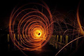 Lichtpainting - brug - Tomorrowland van Sven Van Santvliet