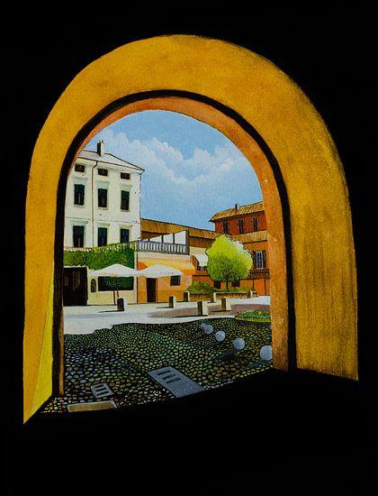Peschiera del Garda in Italie | Aquarel schilderij