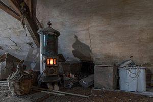 brennender Ofen von