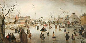 Skaten in einem Dorf - Hendrick Avercamp