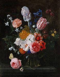 Nicolaes van Veerendael, Een boeket bloemen in een kristallen vaas