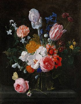 Blumenstrauß in einer Kristallvase, Nicolaes van Veerendael