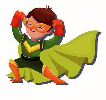 Superheld, ein Junge mit einem Umhang von Atelier Liesjes