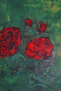 Rote Rose II  in Öl auf Leinwand gespachtelt von Babetts Bildergalerie