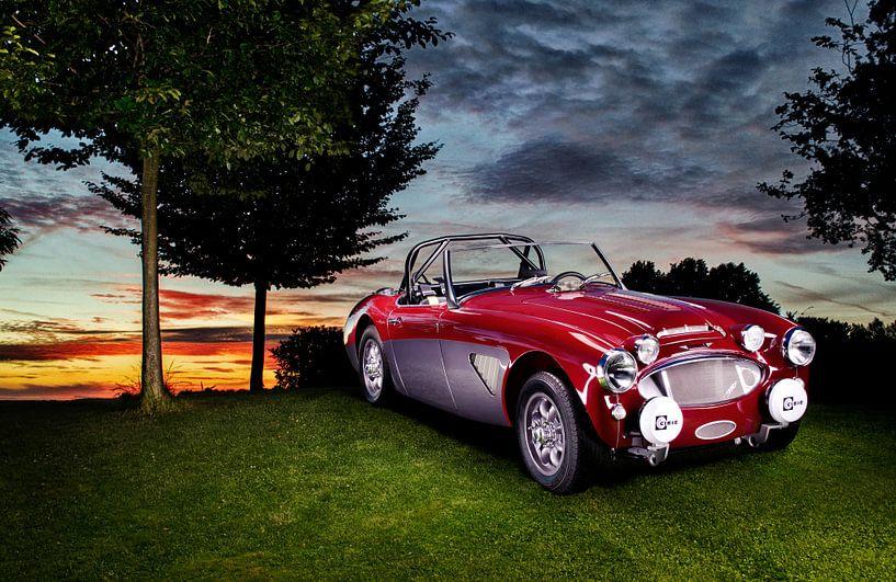 Austin Healey 3000 oldtimer zonsondergang  Auto fotografie van Thomas Boudewijn