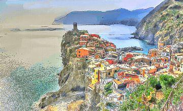 Vernazza Cinque Terre Italië - Cartoon Schilderij van Schildersatelier van der Ven