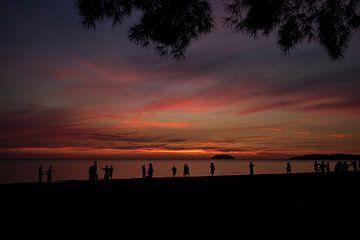 Silhouetes zonsondergang van Femke Ketelaar