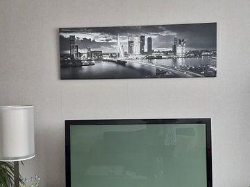 Klantfoto: Skyline Rotterdam Erasmusbrug - Zwart Wit van Vincent Fennis