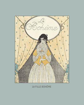 La fille Bohème - boho, chic, folk, fashion print van NOONY