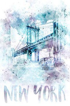 Moderne kunst NYC Manhattan Bridge Waterverf van