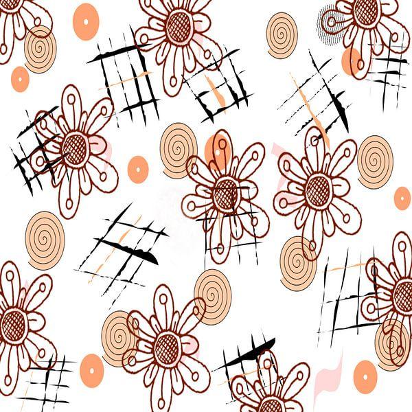 Digitale Blüten mit Spiralen  van Rosi Lorz