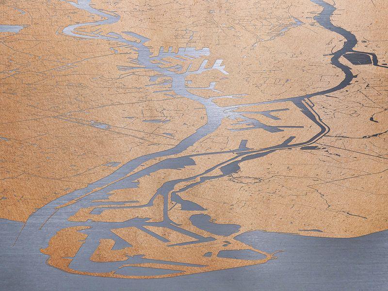 Havenkaart Rotterdam - papier op staal van Frans Blok