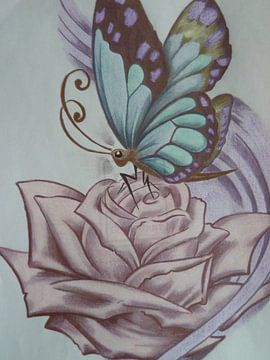 roos met vlinder van Edith Boogaard van den