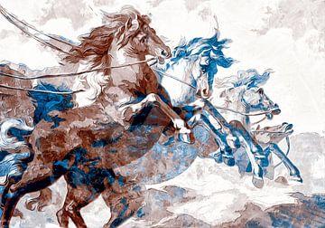 Paarden op hol in neutrale kleurtinten van Nannie van der Wal