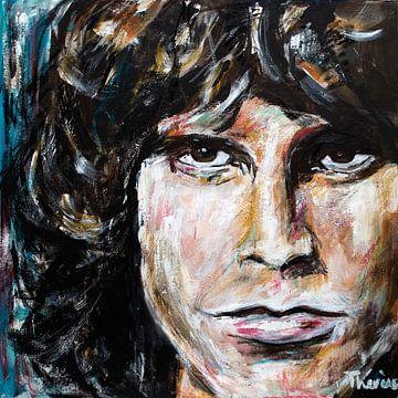 Porträtgemälde von Jim Morrison. von Therese Brals