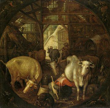 Koeien in een stal; in de vier hoeken heksen (1615), Roelant Savery