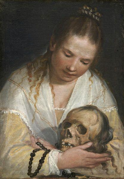 Frau betrachtet einen Schädel, Alessandro Casolani von Meesterlijcke Meesters
