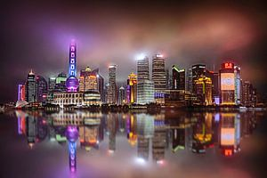 Shanghai bij Nacht van Van Renselaar Fotografie