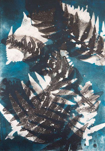 Botanische planten afdruk Varen blauw van Angela Peters