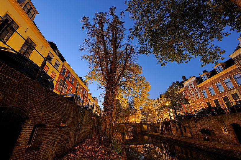 Nieuwegracht in Utrecht tussen Quintijnsbrug en Magdalenabrug in de herfst, foto 2 van Donker Utrecht