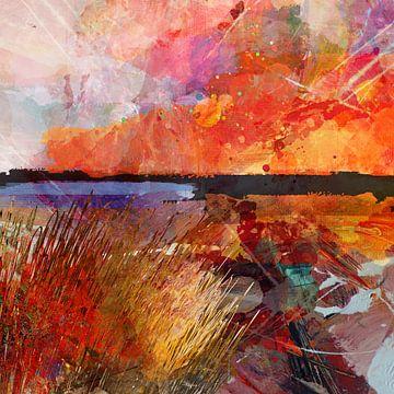 Landschap met zonsondergang van Andreas Wemmje
