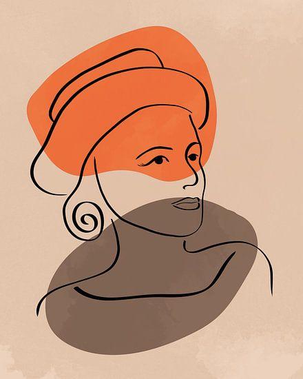 Lijntekening van een vrouw met hoed met twee organische vormen in oranje en bruin
