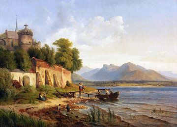 Oberitalienische Küstenlandschaft mit Figurenstaffage, LOUIS GURLITT, 1838 von Atelier Liesjes