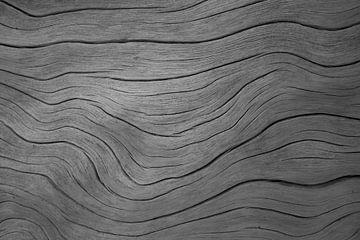 Nerven in boomstam golvend patroon zwart wit van