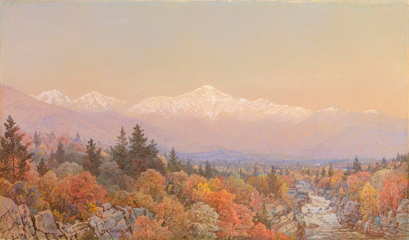 Ein Herbstschnee auf dem Mount Washington, William Trost Richards von Meesterlijcke Meesters