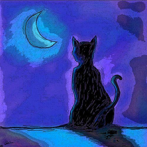 Kat in Maanlicht van Nathalie Antalvari