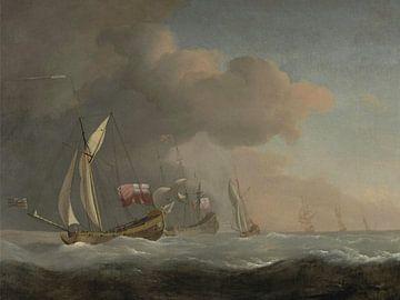 Engelse koninklijke jachten op zee in een sterke bries, Willem van de Velde de Jonge, Willem van de  van