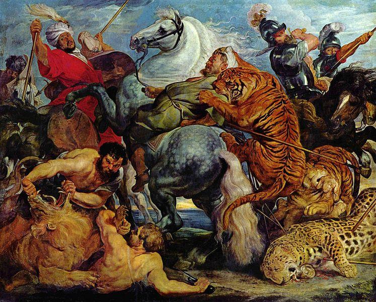 Die Tigerjagd, Peter Paul Rubens von Meesterlijcke Meesters