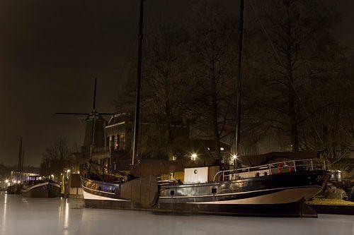 Oude haven van Gouda in de winter van