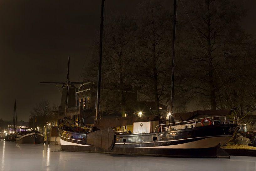 Oude haven van Gouda in de winter van Eus Driessen